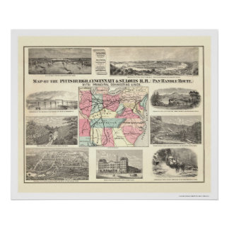 Pittsburg Cincinnati Railroad Map 1877 Poster