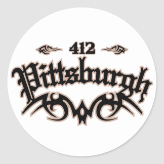 Pittsburgh 412 classic round sticker