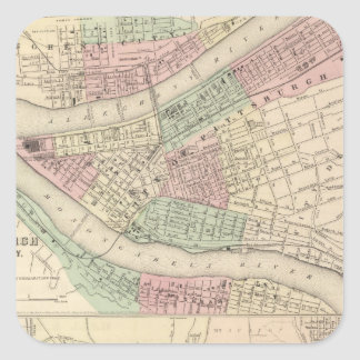 Pittsburgh and Allegheny, Pennsylvania Square Sticker