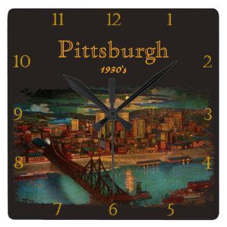 Pittsburgh By Moonlight 1930's Custom Clocks