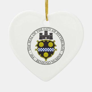 Pittsburgh City Seal Ceramic Heart Decoration