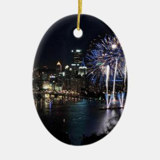 Pittsburgh Fireworks Christmas Ornament