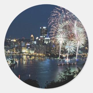 Pittsburgh Fireworks Round Sticker