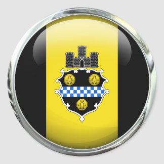 Pittsburgh Flag Glass Ball Classic Round Sticker