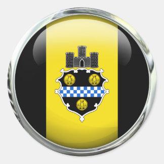 Pittsburgh Flag Glass Ball Classic Round Sticker