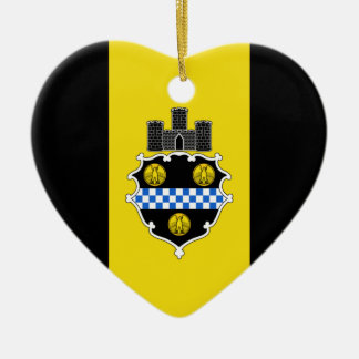 Pittsburgh Flag Heart Ceramic Heart Decoration