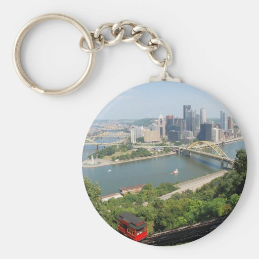 Pittsburgh from Mt Washington Basic Round Button Key Ring