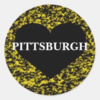 Pittsburgh Heart Round Sticker