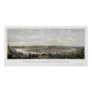 Pittsburgh, PA Panoramic Map - 1871 Poster