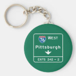 Pittsburgh, PA Road Sign Basic Round Button Key Ring