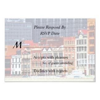 Pittsburgh PA Skyline Closeup Wedding Products 9 Cm X 13 Cm Invitation Card