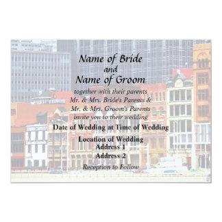 Pittsburgh PA Skyline Closeup Wedding Products 13 Cm X 18 Cm Invitation Card