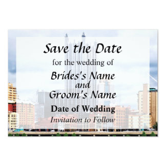Pittsburgh PA Skyline Save the Date 13 Cm X 18 Cm Invitation Card