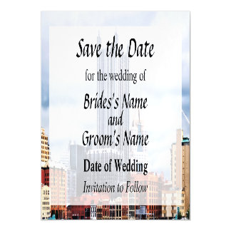 Pittsburgh PA Skyline Save the Date Magnetic Invitations
