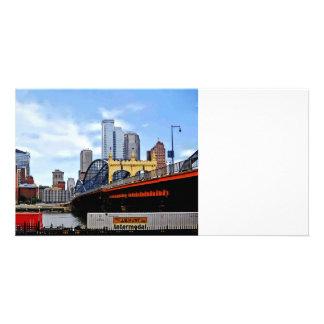 Pittsburgh PA - Train By Smithfield St Bridge Photo Greeting Card
