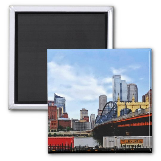 Pittsburgh PA - Train By Smithfield St Bridge Square Magnet