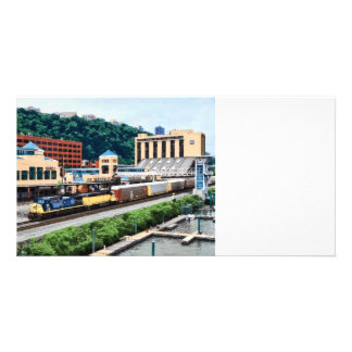 Pittsburgh PA - Train Going By Station Square Customized Photo Card