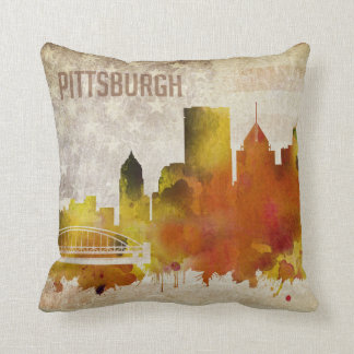 Pittsburgh, PA | Watercolor City Skyline Cushion