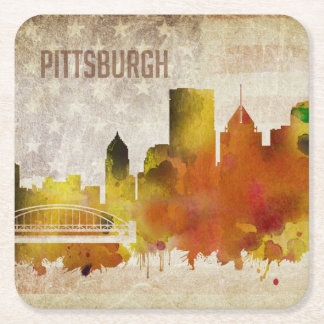 Pittsburgh, PA | Watercolor City Skyline Square Paper Coaster