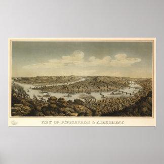 Pittsburgh Pennsylvania 1874 Antique Panoramic Map Poster