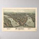 Pittsburgh Pennsylvania 1902 Antique Panoramic Map Poster