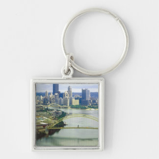 Pittsburgh Pennsylvania Rivers Silver-Colored Square Key Ring
