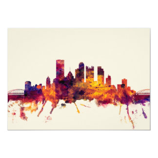 Pittsburgh Pennsylvania Skyline 13 Cm X 18 Cm Invitation Card