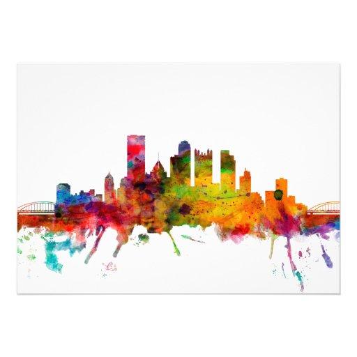 Pittsburgh Pennsylvania Skyline Personalised Invites