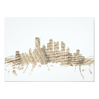Pittsburgh Pennsylvania Skyline Sheet Music Citysc 13 Cm X 18 Cm Invitation Card