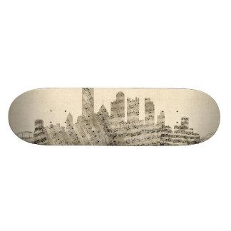 Pittsburgh Pennsylvania Skyline Sheet Music Citysc 20 Cm Skateboard Deck