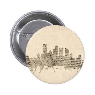 Pittsburgh Pennsylvania Skyline Sheet Music Citysc 6 Cm Round Badge