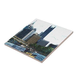 Pittsburgh Pennsylvania Skyline Small Square Tile