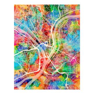 Pittsburgh Pennsylvania Street Map 21.5 Cm X 28 Cm Flyer