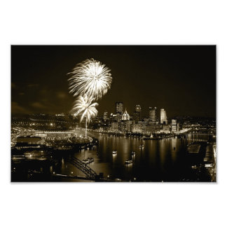 Pittsburgh Photo Prints-Night Fireworks Sepia 1