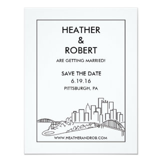 Pittsburgh Save the Date - Skyline (black) 11 Cm X 14 Cm Invitation Card