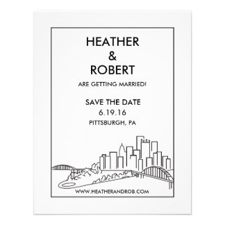 Pittsburgh Save the Date - Skyline (black) Personalized Announcements
