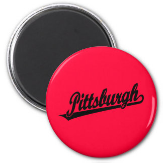 Pittsburgh script logo in black magnet
