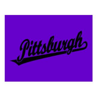 Pittsburgh script logo in black postcard