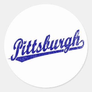 Pittsburgh script logo in blue round sticker
