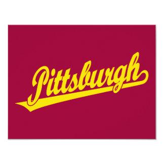 Pittsburgh script logo in gold 11 cm x 14 cm invitation card