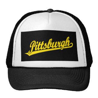 Pittsburgh script logo in gold cap