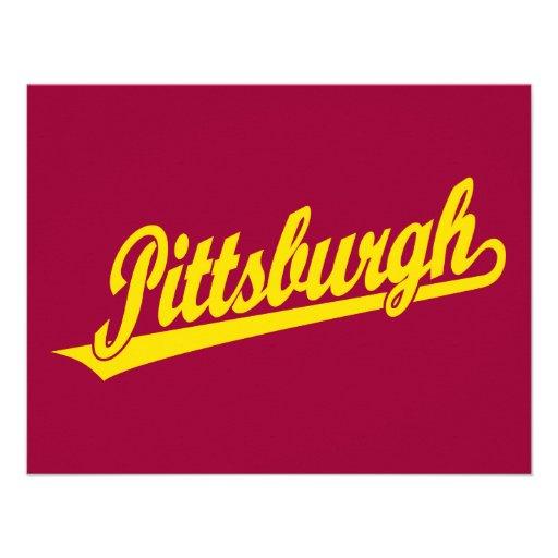 Pittsburgh script logo in gold invites