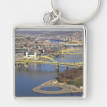 pittsburgh Silver-Colored square key ring