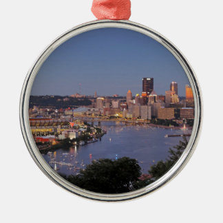 Pittsburgh Skyline at Dusk Christmas Ornament