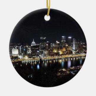 Pittsburgh skyline at night from Mount Washington Round Ceramic Decoration