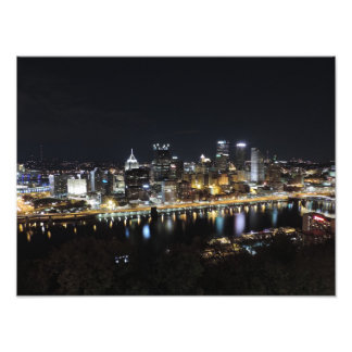 Pittsburgh skyline at night Poster Photograph