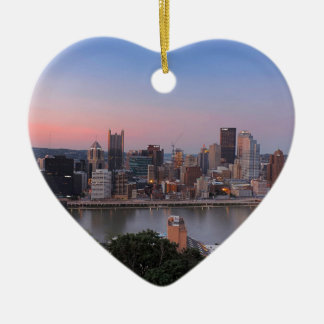 Pittsburgh Skyline at Sunset Christmas Ornament