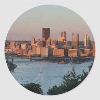 Pittsburgh Skyline at Sunset Classic Round Sticker