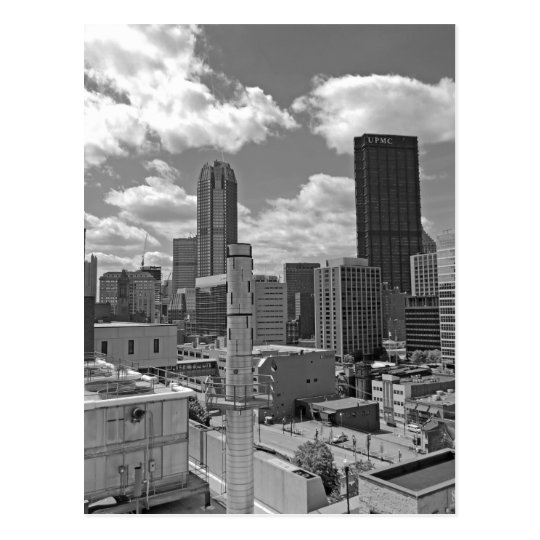 Pittsburgh Skyline Black and White Postcard