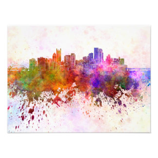 Pittsburgh skyline in watercolor background photo